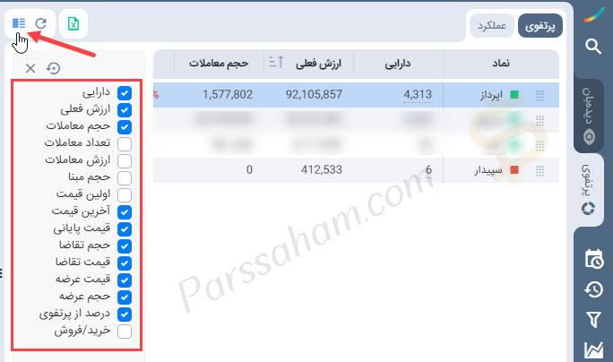 اطلاعات نمادهای بورسی در پرتفوی